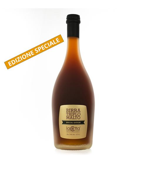 Bottiglia di birra triplo malto La Cotta